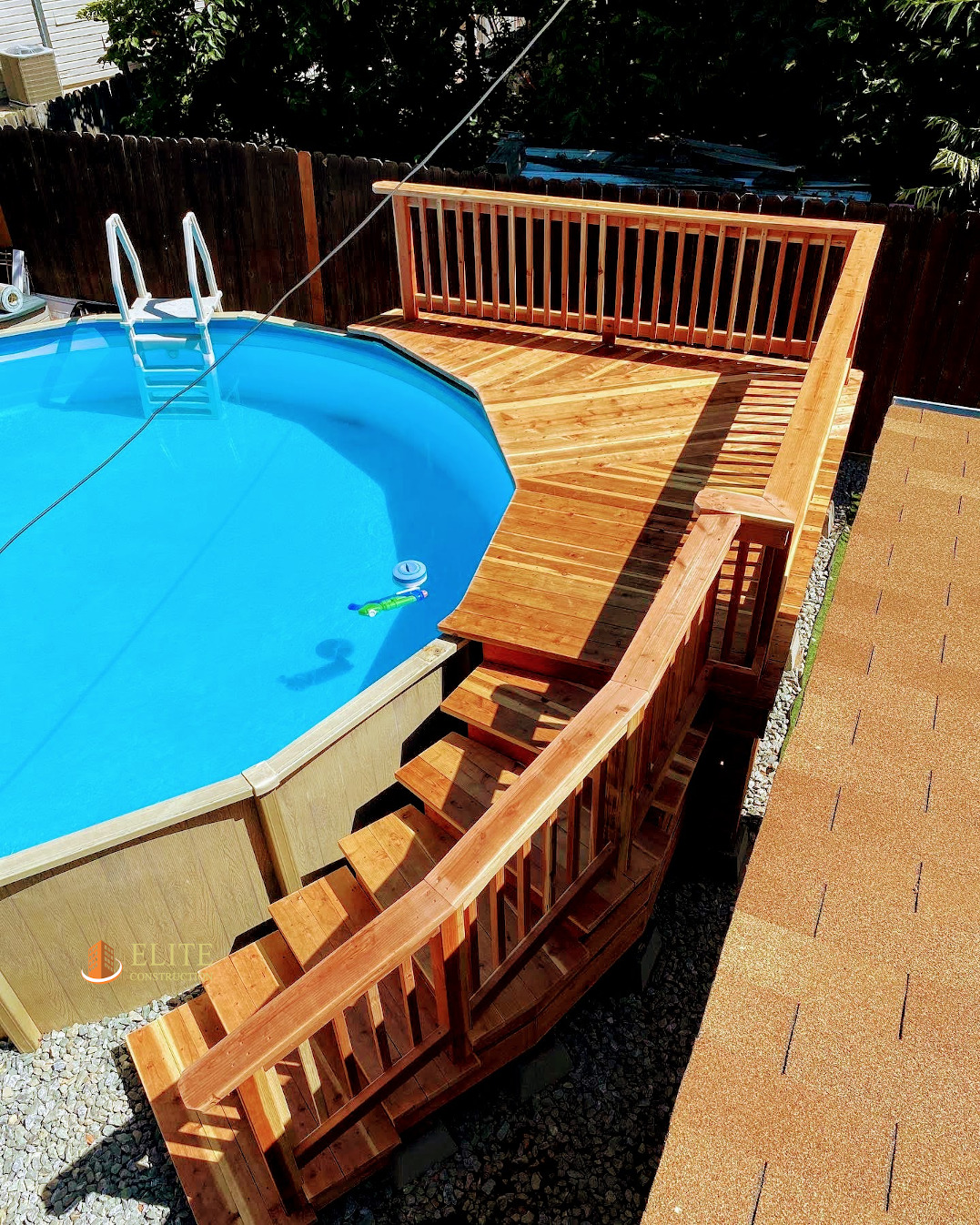 Above Ground Pool Deck Construction, How To Build A Raised Deck Around An Above Ground Pool
