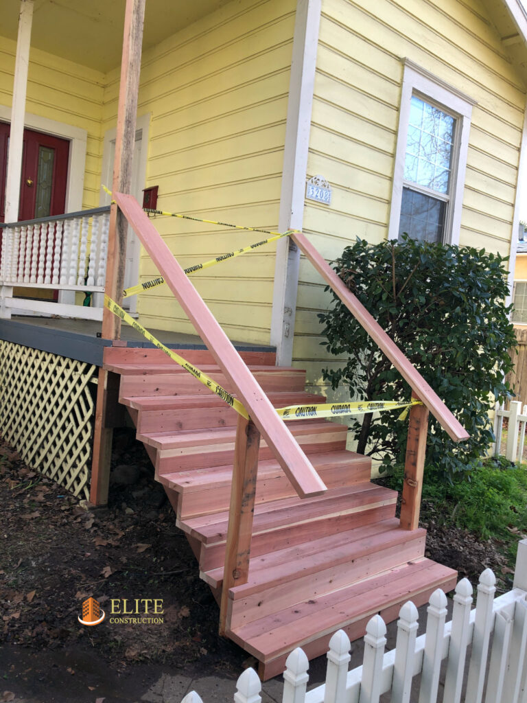 How to Build Outdoor Staircase & Railing     Elite Construction ...